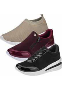Kit 3 Pares Tênis Sneaker Gigil Anabela Feminino - Feminino