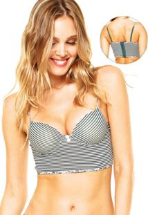 Sutiã Top Lorie Push-Up Listras Verde/Branco