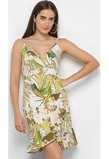 Vestido Curto Lily Fashion Babado Estampado - Feminino-Off White