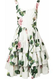 Dolce & Gabbana Vestido Com Amarração E Estampa De Rosas - Branco