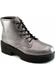 Coturno Verniz Tratorado Sapato Show - Feminino-Cinza