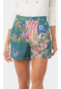 Shorts Cintura Alta Estampado Festival Japones - Lez A Lez