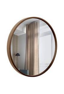 Espelho Decorativo Round Externo Marrom 40 Cm Redondo