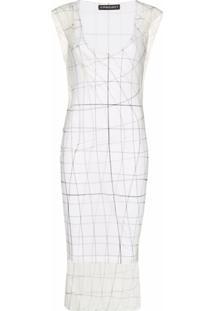 Y/Project Printed Sheer Midi Dress - Branco