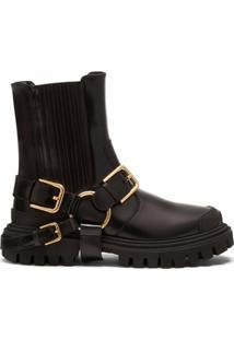 Dolce & Gabbana Bota Com Solado Chunky E Detalhe De Fivela - Preto