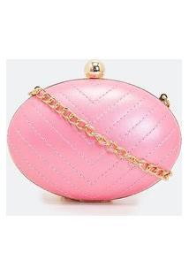 Bolsa Pequena Clutch Em Matelassê | Satinato | Rosa | U