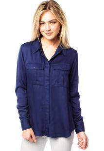 Camisa Manga Longa Carmim Pocket Azul
