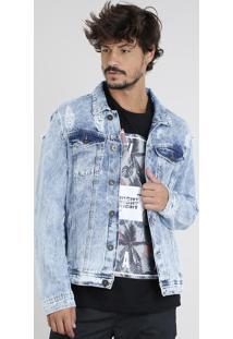 Jaqueta Jeans Masculina Trucker Com Bolsos E Rasgos Azul Claro