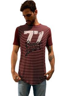 Camiseta 775 Listrada Alongada - Vinho