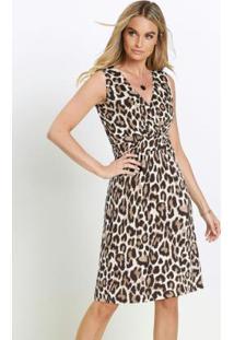 Vestido Com Franzido Animal Print Onça Bege