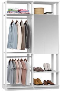 Closet Modulado 1 Armário C/ Espelho E 2 Cabideiros Clothes 9015 – Be Mobiliário - Branco