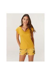 Blusa Canelada Viscose Amarela Malwee