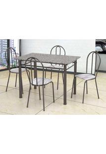 Conjunto De Mesa Com 4 Cadeiras Monique Craquado Preto E Linho