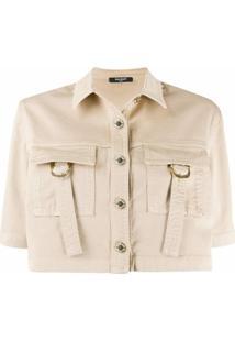 Balmain Camisa Cropped - Neutro