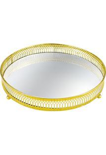 Bandeja Decorativa- Espelhada & Dourada- 4,5Xø24,5Cmmart