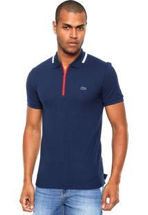 Camisa Polo Lacoste Zíper Azul