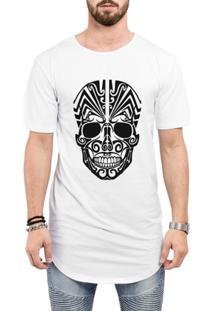 Camiseta Criativa Urbana Long Line Oversized Caveira Mexicana Tribal - Masculino-Branco