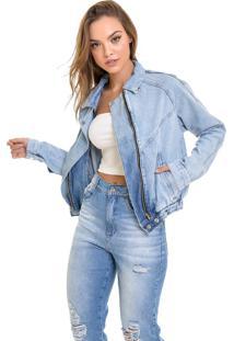 Jaqueta Jeans Dialogo Retro Com Elástico - Tricae