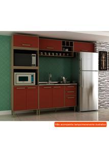 Cozinha Compacta Vitória I 7 Pt 3 Gv Vermelha E Avelã