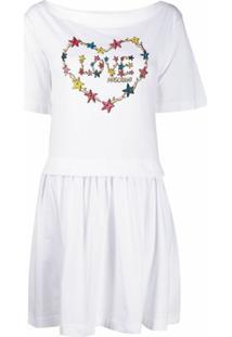 Love Moschino Vestido De Algodão Com Estampa De Logo - Branco