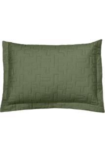 Porta Travesseiro Reffinata- Verde Militar- 70X50Cm