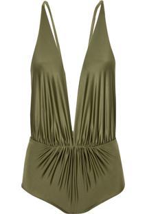 Body Rosa Chá Louise Military Green Beachwear Verde Feminino (Capulet Olive, G)