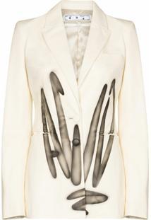 Off-White Blazer Com Abotoamento Simples E Estampa De Grafite - Neutro