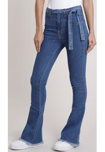 Calça Jeans Feminina Sawary Flare Cintura Alta Com Faixa Para Amarrar Azul Médio