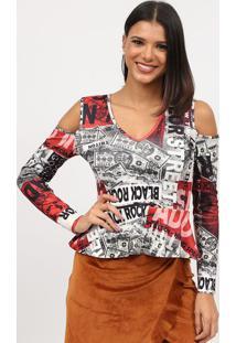 Blusa Com Ombros Vazados- Preta & Vermelha- Tritontriton