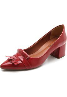 Scarpin Dafiti Shoes Franja Vermelho