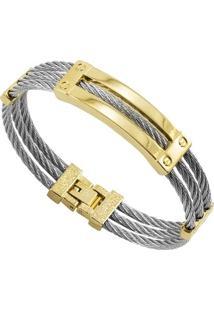 Bracelete Tudo Jóias De Aço Inox Cabo Náutico - Unissex-Prata+Dourado