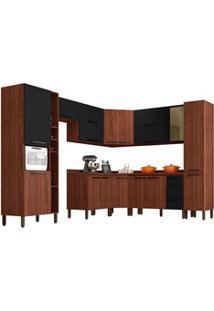 Cozinha Modulada Completa 12 Peças Viv Concept C11 Black/Nogueira - Ki