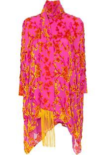Taller Marmo Vestido Primavera De Veludo Com Bordado Floral - Rosa