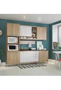 Cozinha Completa Com Tampo 12 Portas 7 Peças Sicília Multimóveis Argila/Branco