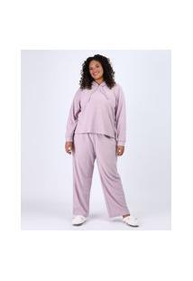 Pijama Feminino Plus Size Atoalhado Com Capuz Manga Longa Lilás