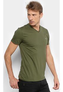 e58c708acd ... Camiseta Lacoste Gola V Regular Fit Masculina - Masculino-Verde Militar
