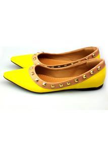 Sapatilha Love Shoes Bico Fino Valentino Spike Amarelo