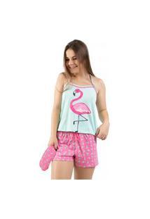 Baby Doll 4 Estações Pijama Feminino Curto Flamingo Com Tapa Olho Adulto Verde
