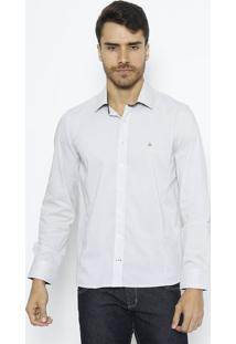 Camisa Extra Slim Com Pespontos- Cinza Claro & Cinzavip Reserva