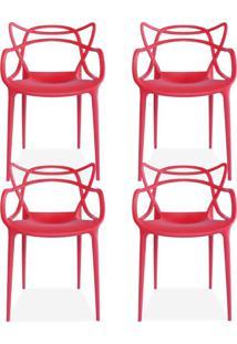 Kit 04 Cadeiras Decorativas Lyam Decor Amsterdam Vermelho. - Tricae