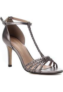 Sandália Couro Shoestock Metalizada Trançada Salto Alto Feminina - Feminino-Preto+Prata