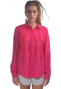 Camisa Chocoleite Bordado Pink Rosa