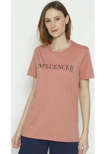 "Camiseta ""Influencer""- Rosa & Preta- Colccicolcci"