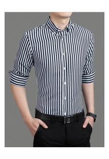 Camisa Masculina Listrada Slim Manga Longa - Preto