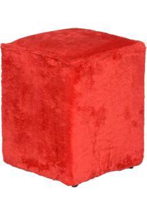 Puff Cubo Pelúcia - Stay Puff - Vermelho