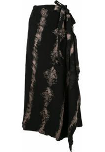 Masnada Camiseta Assimétrica Tie-Dye - Preto