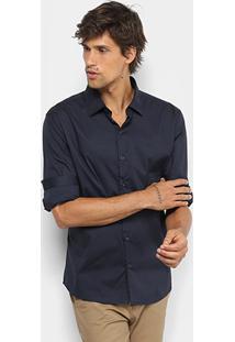 Camisa Ellus Tricoline Slim Manga Longa Masculina - Masculino-Azul Escuro