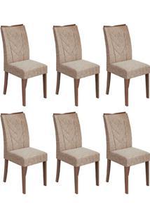 Conjunto Com 6 Cadeiras Atacama Ll Imbuia E Bege