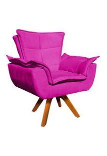 Poltrona Decorativa Giratória Gran Opala Base Madeira Suede Pink - D'Rossi