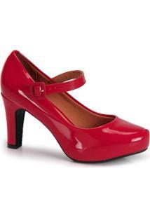 Sapato Scarpin Vizzano Boneca Verniz - Feminino-Vermelho